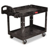 Rubbermaid Commercial Heavy-Duty Utility Cart, 2-Shelf, 25-7/8w x 45-1/4d x 33-1/4h, Black