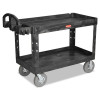 Rubbermaid Commercial Heavy-Duty Utility Cart, 750-lb Cap., 2 Shelves, 25 1/4 x 54 x 39 1/4, Black