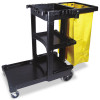 Rubbermaid Commercial Multi-Shelf Cleaning Cart, 3-Shelf, 20w x 45d x 38-1/4h, Black