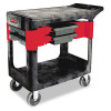 Rubbermaid Commercial Trades Cart, 2-Shelf, 19-1/4w x 38d x 33-3/8h, Black