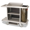 Rubbermaid Commercial Full-Size Housekeeping Cart, 1-Shelf, 22w x 60d x 50h, Platinum
