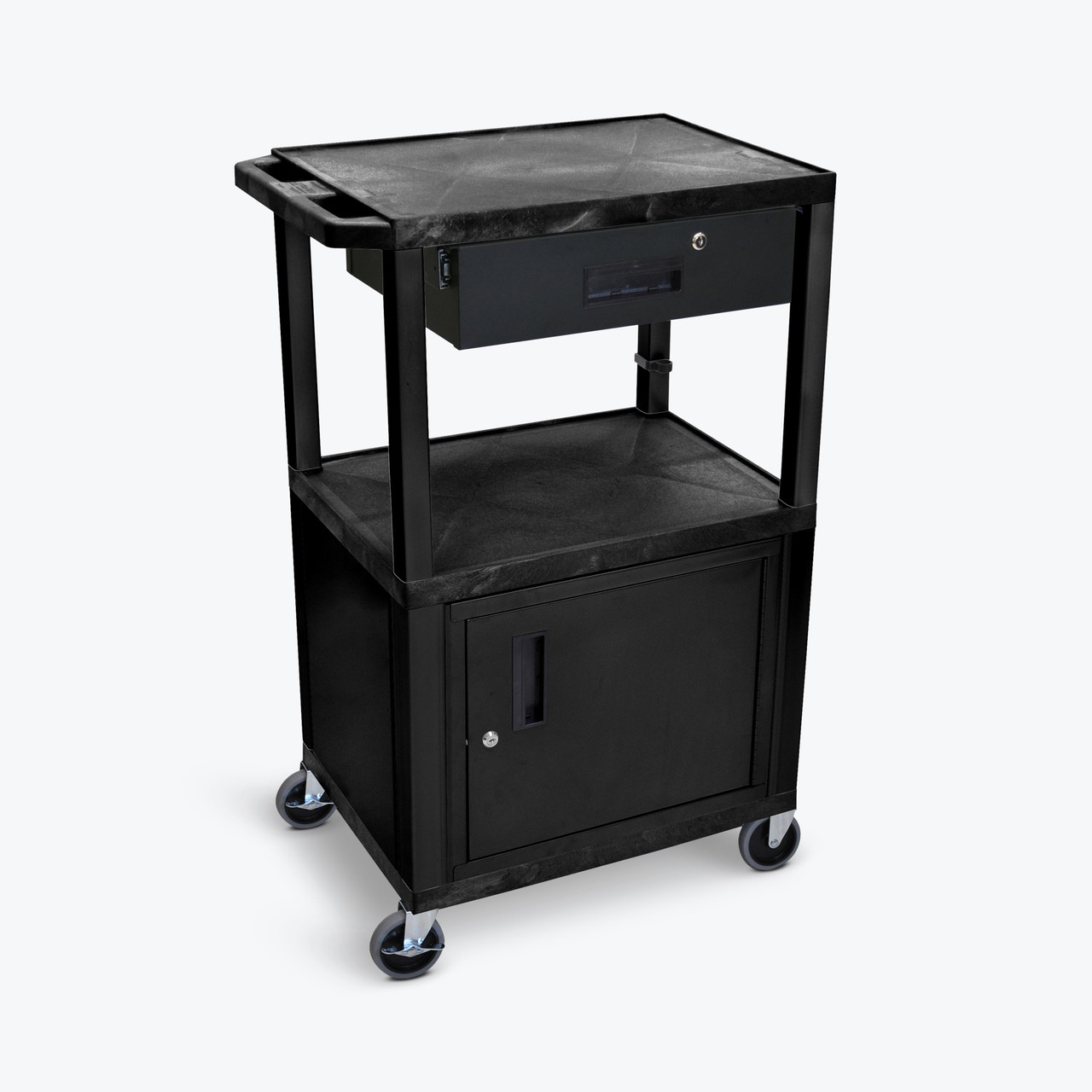 "42""H AV Cart - 3 Shelves, Cabinet with Drawer - Black"