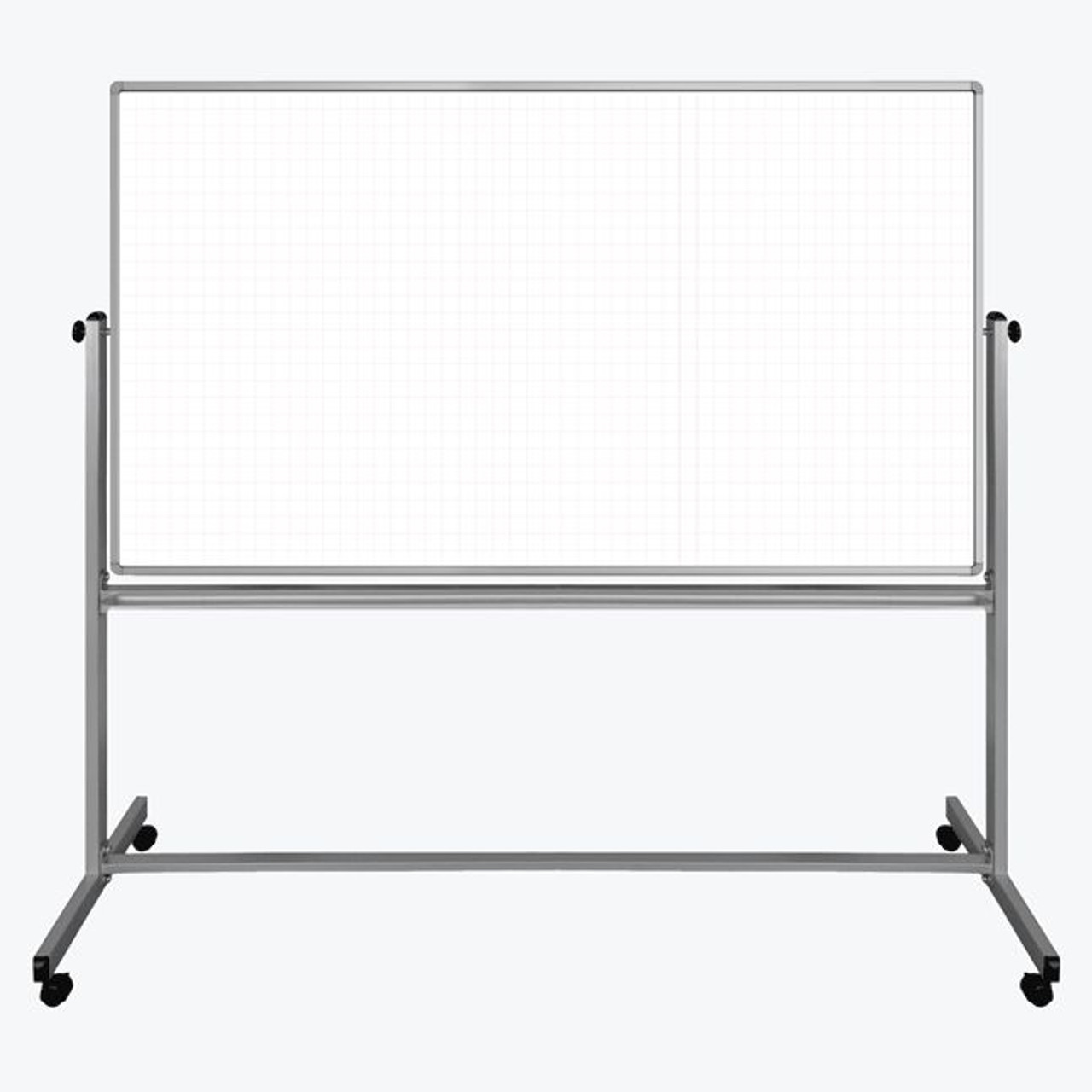 "72"" x 40"" Mobile Magnetic Double-Sided Ghost Grid Whiteboard MB7240LB"
