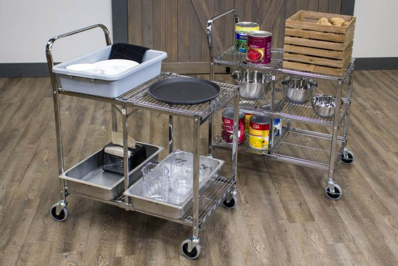 Luxor Two-Shelf Collapsible Wire Utility Cart, a uniquely versatile unit that's ideal for restaurants, kitchens, cafés, hospitality. Great mobility a uniquely versatile unit that's ideal for restaurants, kitchens, cafés, hospitality