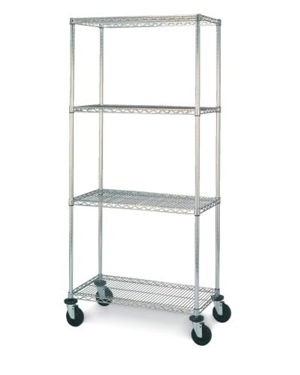 "Olympic 14"" Deep 4 Shelf Mobile Carts - Chrome - 14"" x 36"" x 68"" MJ1436-63UC"