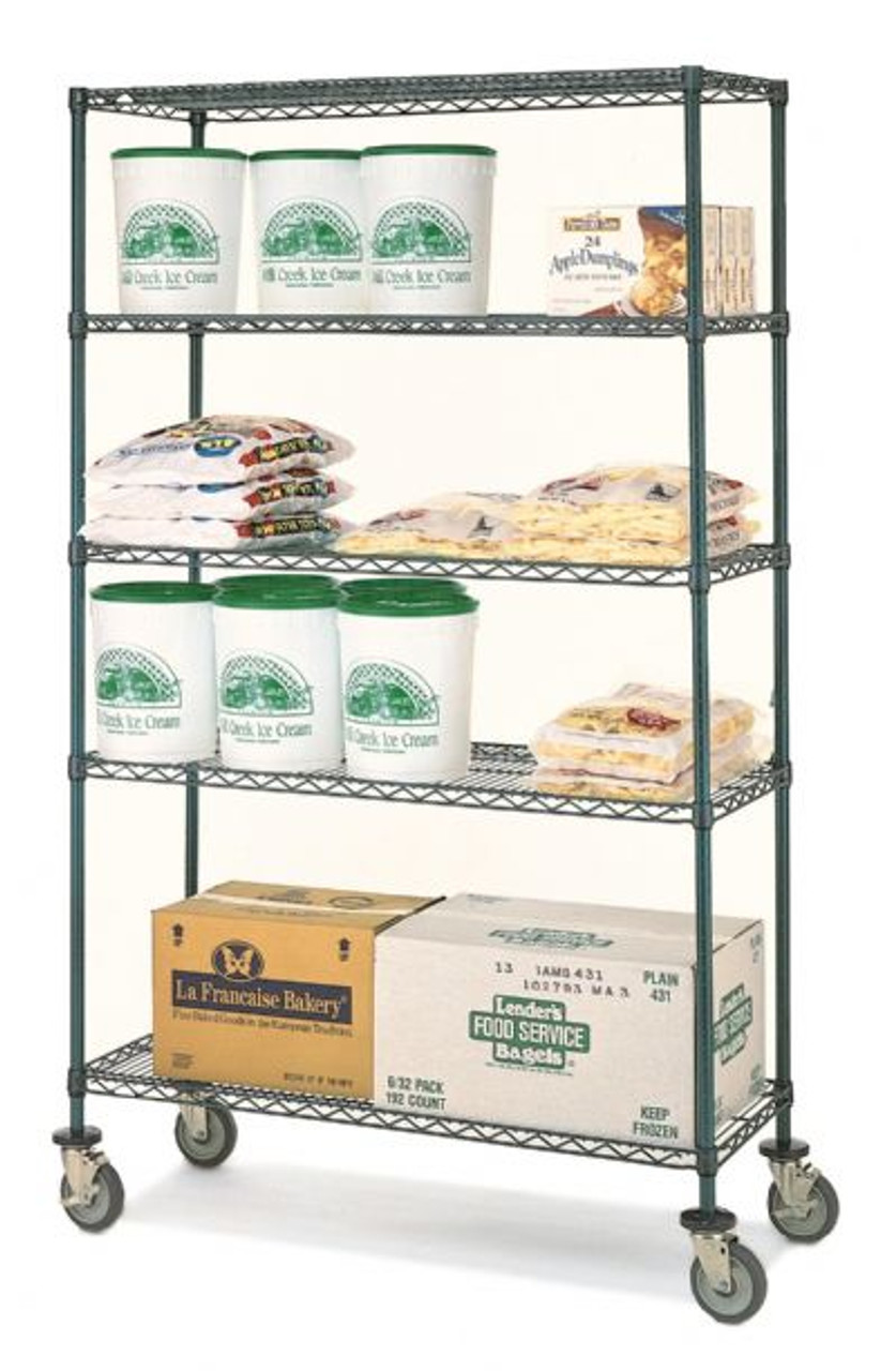 "Olympic 14"" Deep 4 Shelf Mobile Carts - Green Epoxy - 14"" x 42"" x 68"" MJ1442-63UK"
