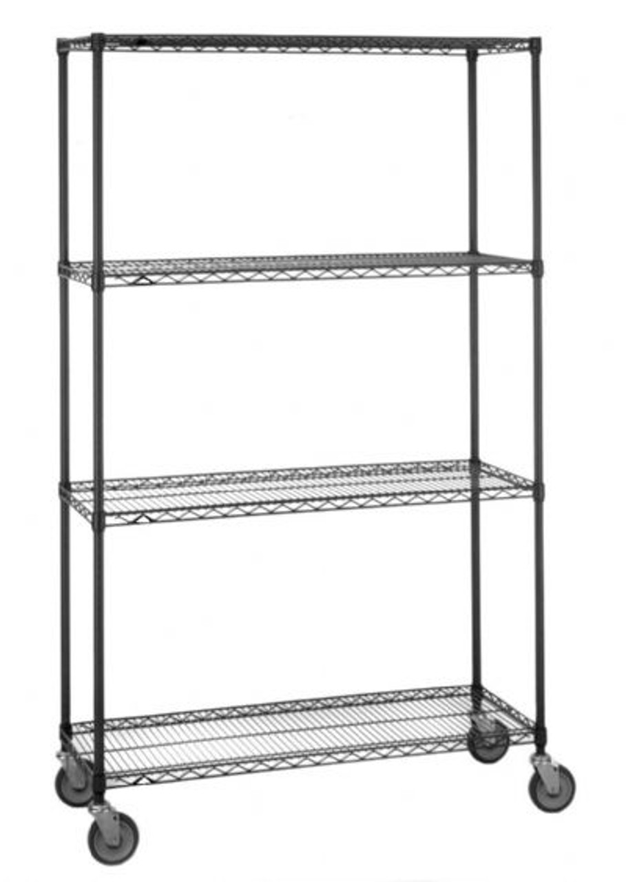 "Olympic 14"" Deep 4 Shelf Mobile Carts - Black - 14"" x 48"" x 59"" MJ1448-54UB"