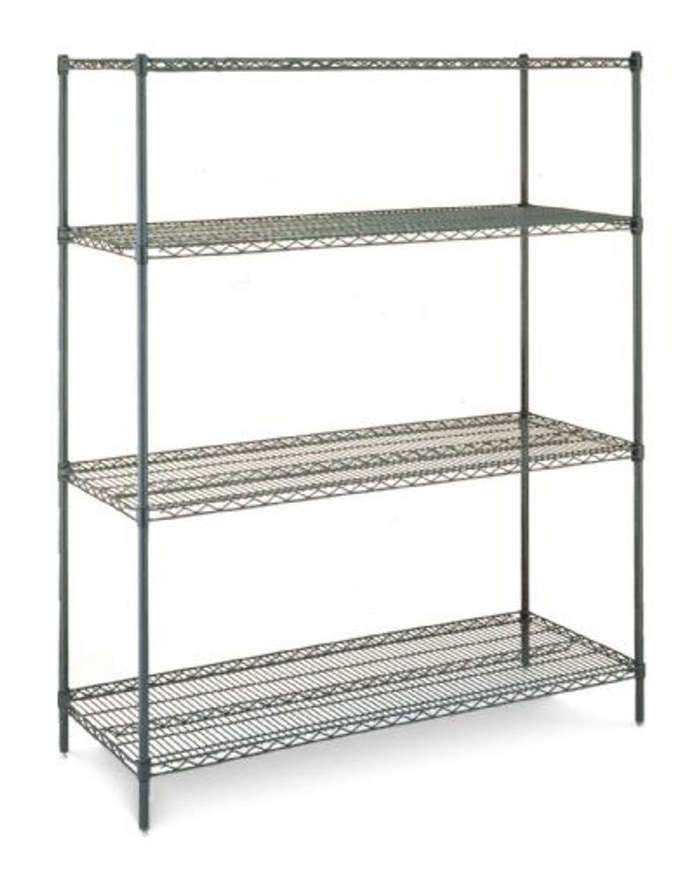 "Olympic 24"" Deep 4 Shelf Starter Units - Green Epoxy - 24"" x 42"" x 63"" J2442-63K"