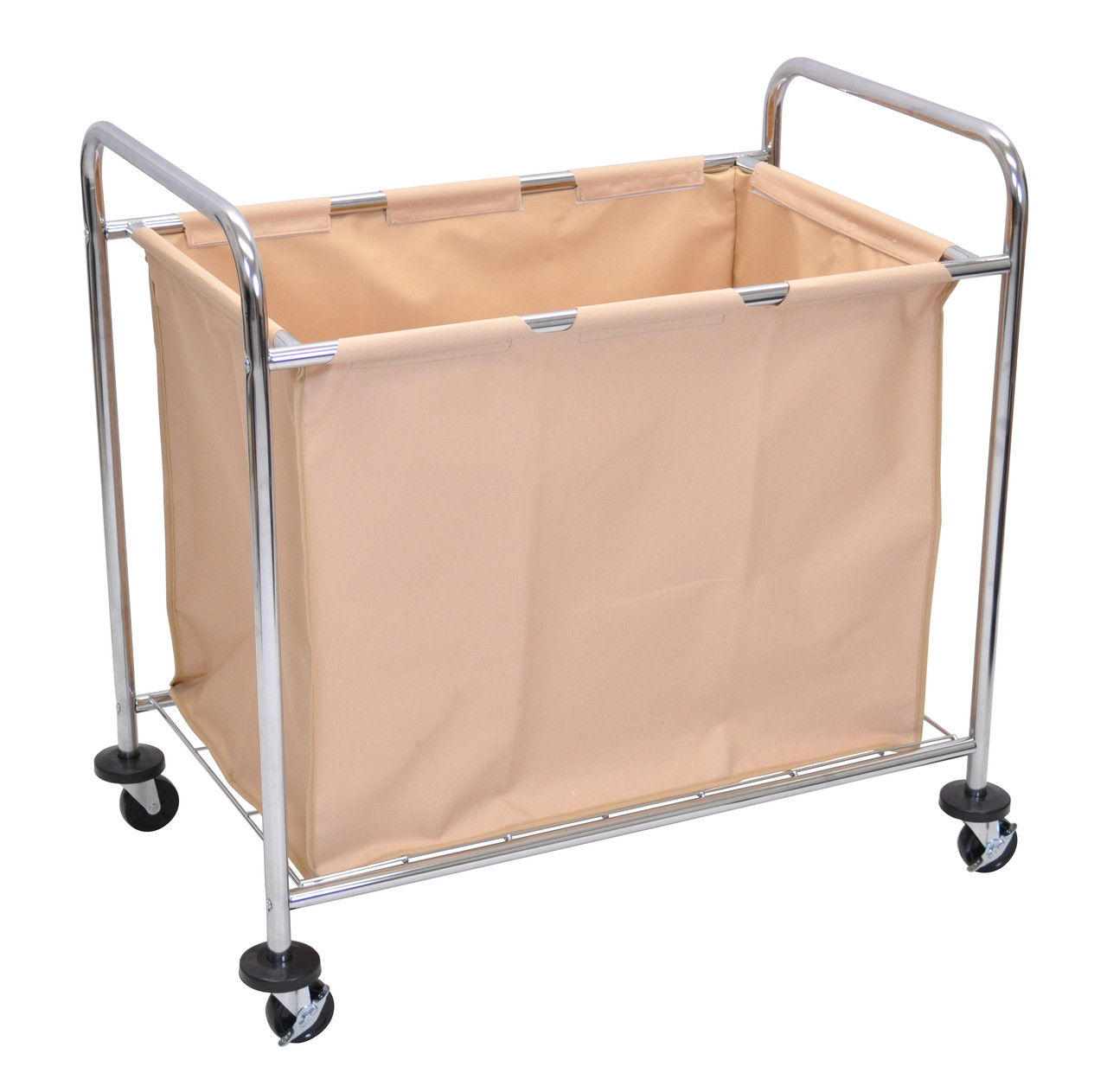 Luxor Janitorial Cart SILVER FRAME/ BROWN BAG HL14