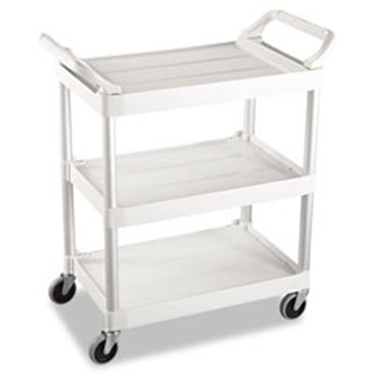 Rubbermaid 3424-88 OWH Commercial 3-Shelf Service Cart, Off-White