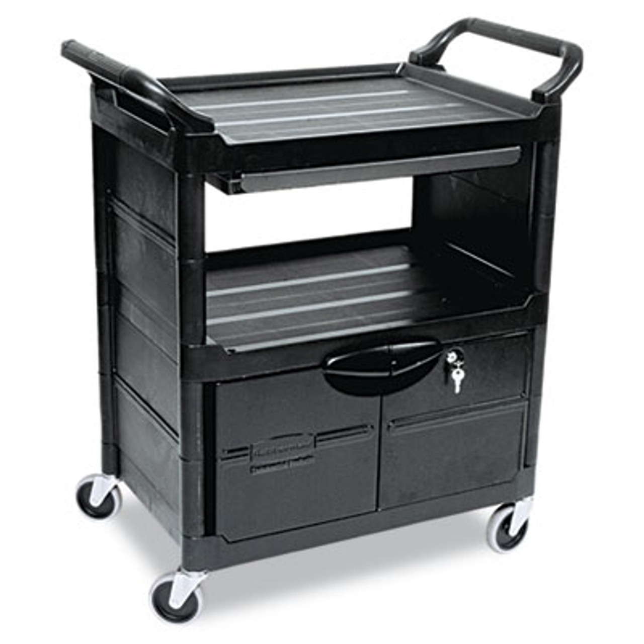 Rubbermaid Commercial Utility Cart w/Locking Doors, 2-Shelf, 33-5/8w x 18-5/8d x 37-3/4h, Black