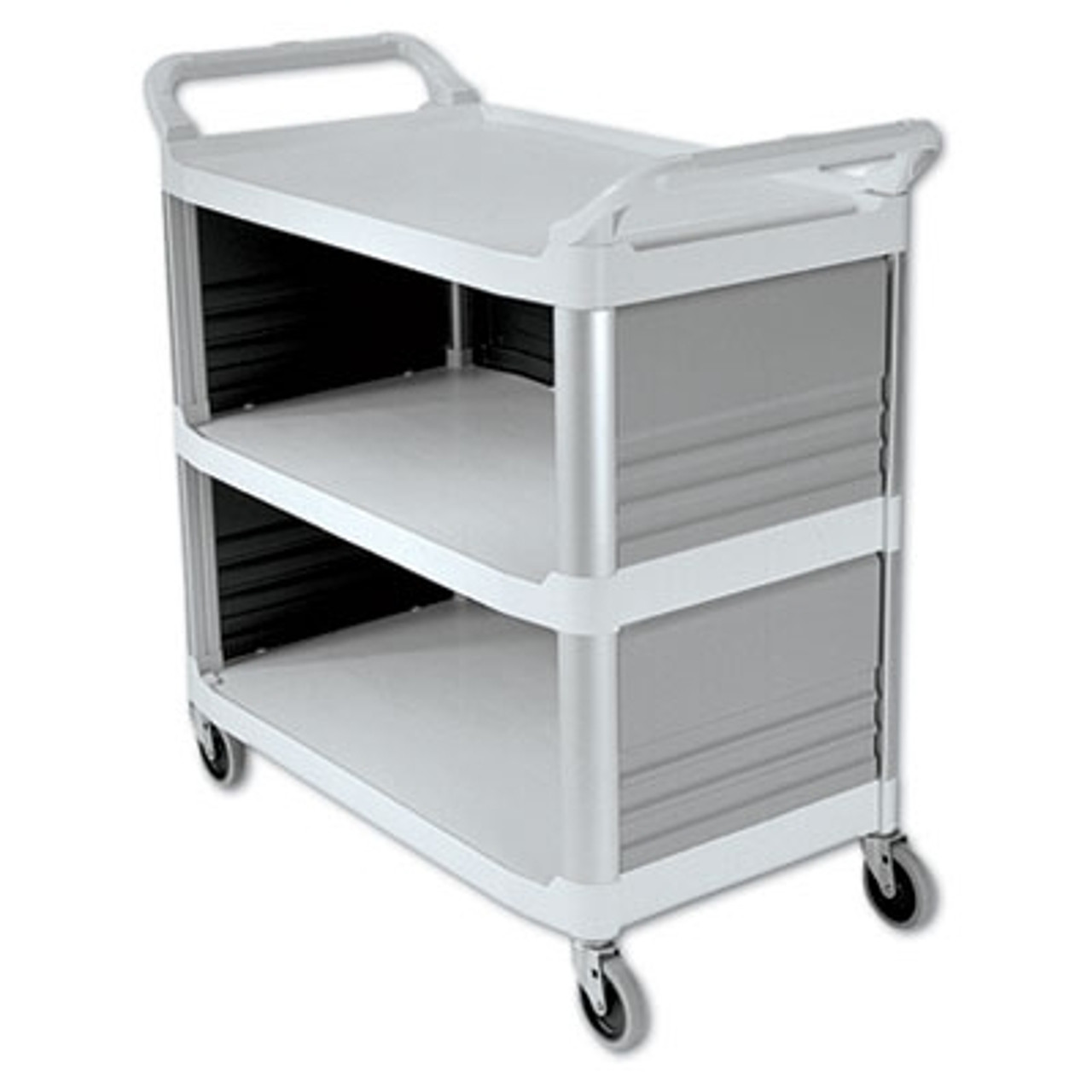 Rubbermaid Commercial Xtra Utility Cart, 300-lb Cap., 3 Shelves, 20w x 40d 5/8 x 37 4/5h, Off-White