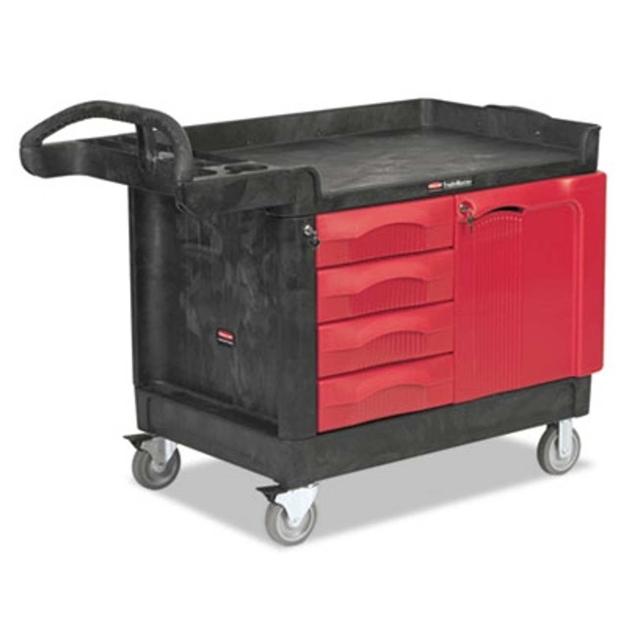 Rubbermaid Commercial TradeMaster Cart, 750-lb Cap., 1 Shelf, 26 1/4w x 49d x 38h, Black