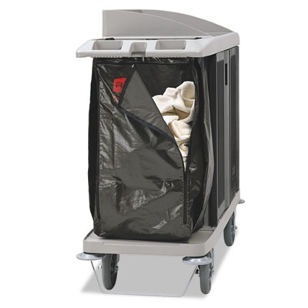 Rubbermaid Commercial Zippered Vinyl Cleaning Cart Bag, 25 gal, 17w x 10 1/2d x 33h, Brown