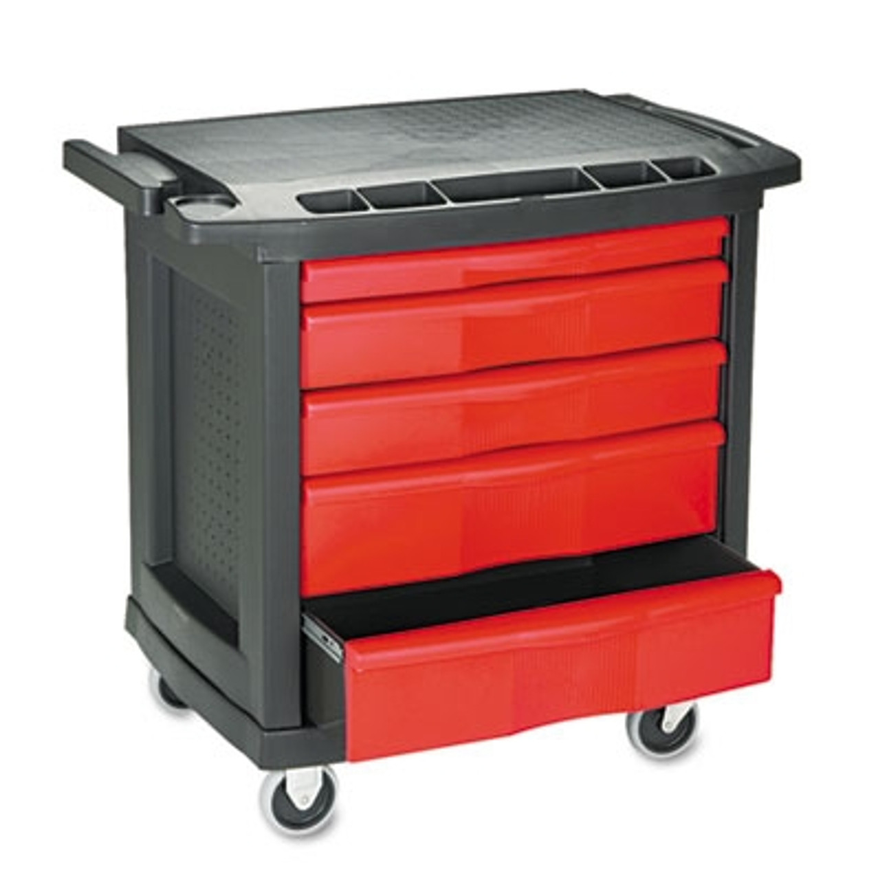 Rubbermaid Commercial Five-Drawer Mobile Workcenter, 32-1/2w x 20d x 33-1/2h, Black Plastic Top