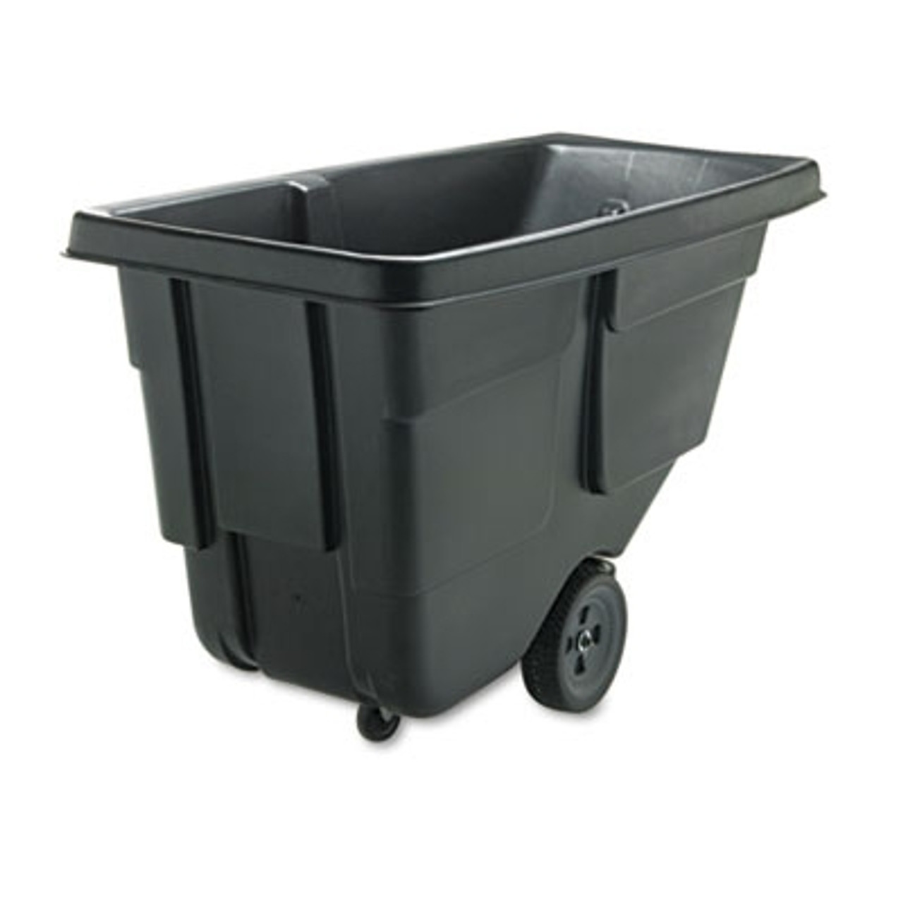 Rubbermaid Commercial Value Line Tilt Truck, Rectangular, Plastic/Steel Frame, 300lb cap, Black