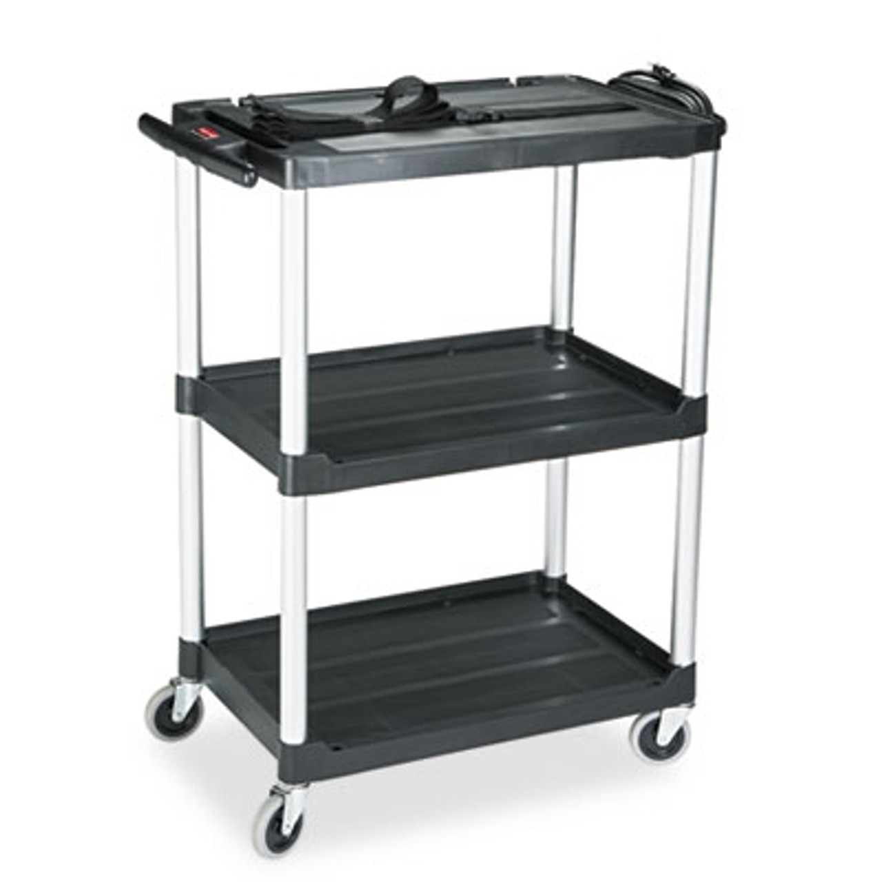 Rubbermaid Commercial Media Master AV Cart, 2-Shelf, 18-3/4w x 32-3/4d x 42h, Black