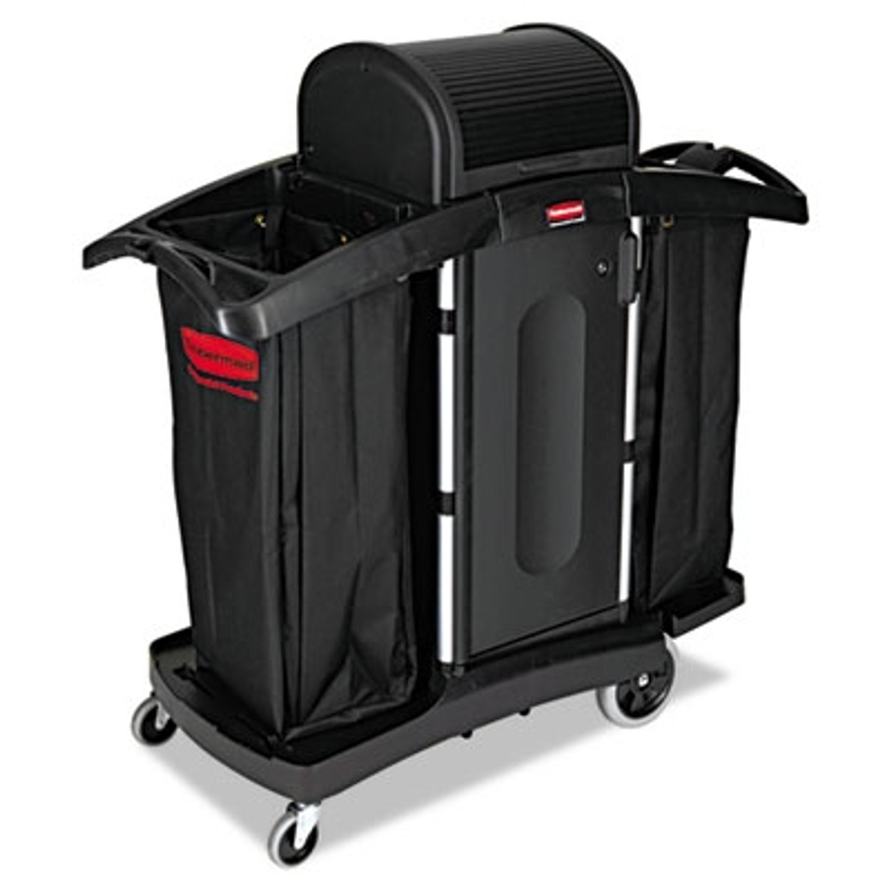 Rubbermaid Commercial High-Security Housekeeping Cart, 2-Shelf, 22w x 51 3/4d x 53 1/2h, BK/SR