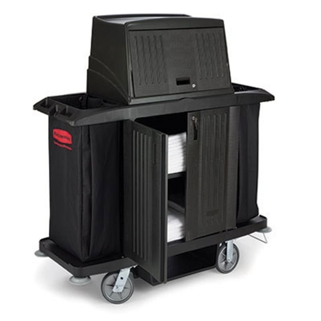 Rubbermaid Commercial Full Size Housekeeping Cart with Doors, 22w x 60d x 67 1/2h, Black
