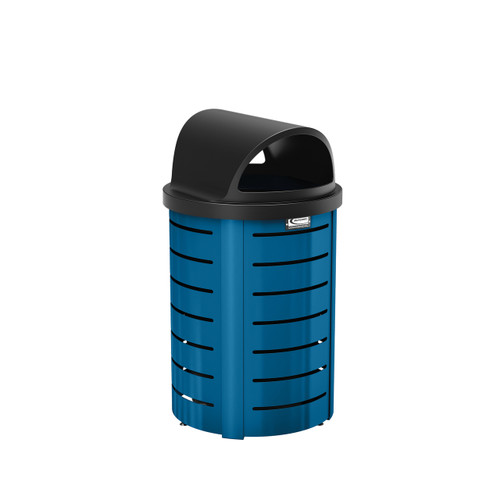 Suncast Metal Trash Can - Roto Molded Lid - Blue