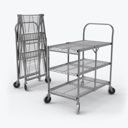 Three-Shelf Collapsible Wire Utility Cart WSCC-3