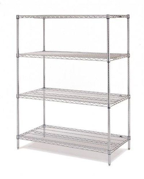 "Olympic 14"" Deep 4 Shelf Starter Units - Chrome - 14"" x 36"" x 74"" J1436-74C"