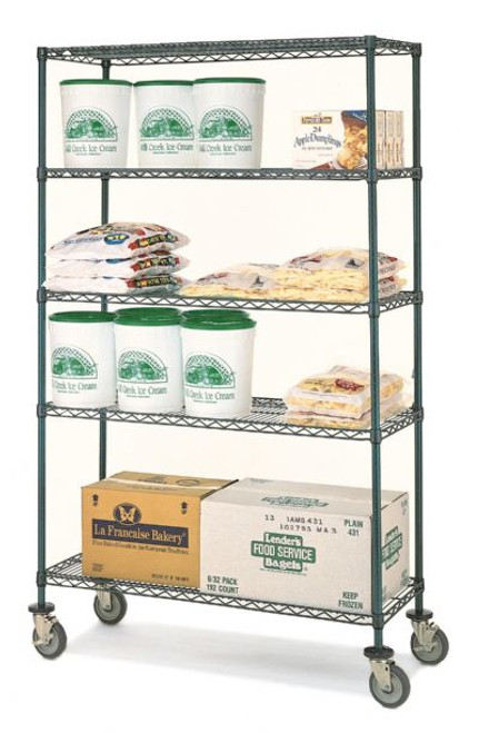 "Olympic 14"" Deep 4 Shelf Mobile Carts - Green Epoxy - 14"" x 60"" x 68"" MJ1460-63UK"