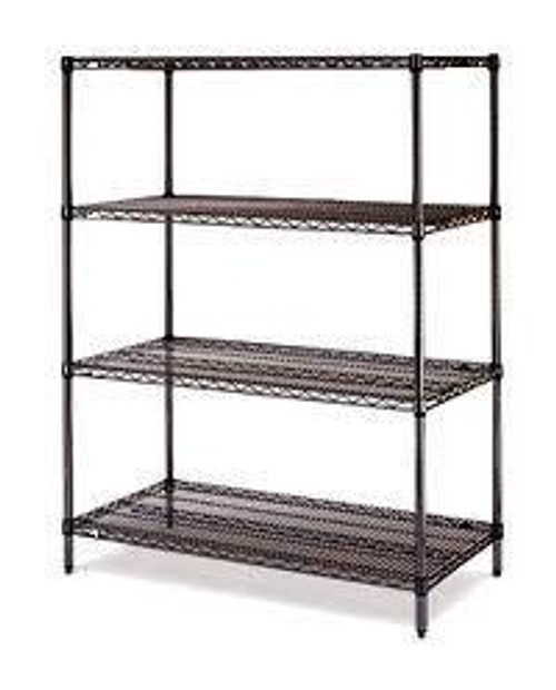 "Olympic 18"" Deep 4 Shelf Starter Units - Black - 18"" x 48"" x 74"" J1848-74B"