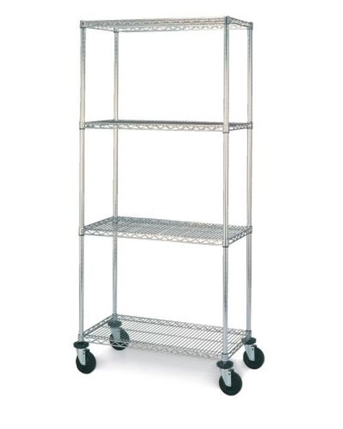 "Olympic 24"" Deep 4 Shelf Mobile Carts - Chrome - 24"" x 36"" x 68"" MJ2436-63UC"