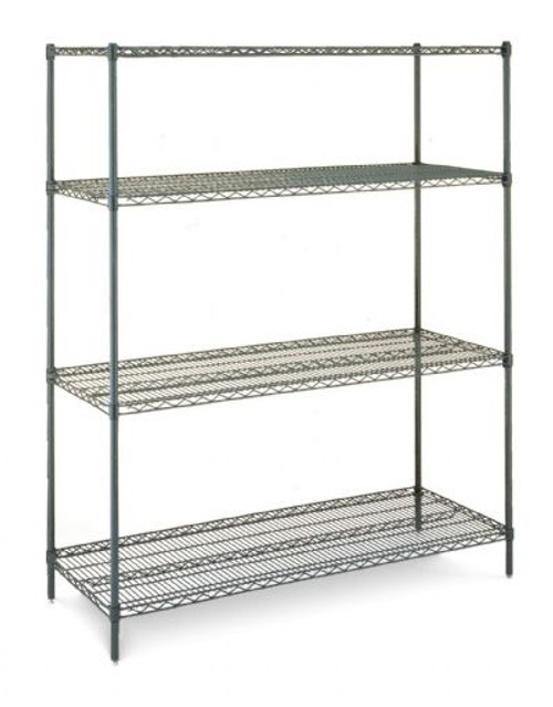 "Olympic 24"" Deep 4 Shelf Starter Units - Green Epoxy - 24"" x 54"" x 63"" J2454-63K"