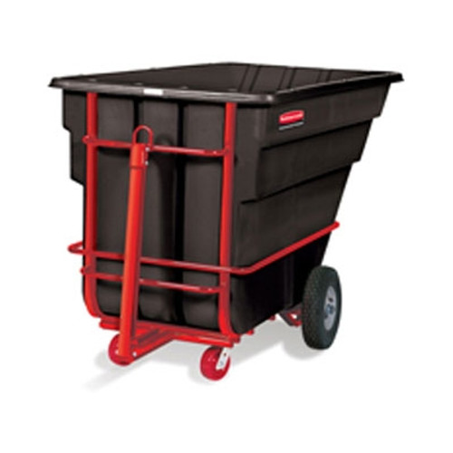 Rubbermaid Commercial Rotomolded Tilt Truck, Rectangular, Plastic, 2100-lb Cap., Black