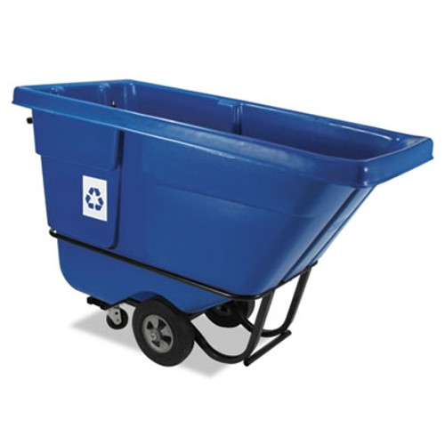 Rubbermaid Commercial Recyclable Rotomolded Tilt Truck, Rectangular, Plastic, 850 lb. Cap., Blue