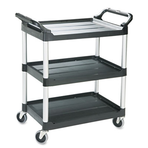 Rubbermaid Commercial Economy Plastic Cart, 3-Shelf, 18-5/8w x 33-5/8d x 37-3/4h, Black