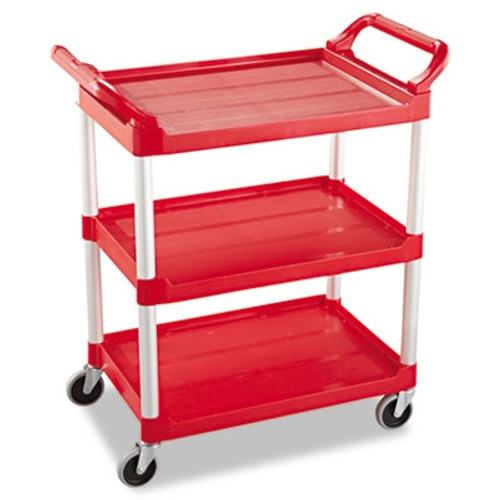 Rubbermaid Commercial 3-Shelf Service Cart, 200-lb Cap., 18 5/8w x 33 5/8d x 37 3/4h, Red
