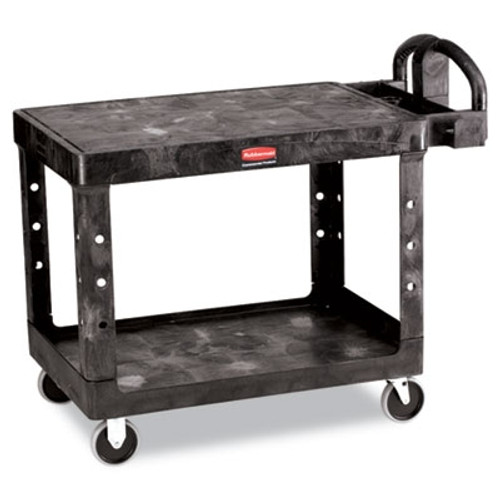 Rubbermaid Commercial Flat Shelf Utility Cart, 2-Shelf, 25-7/8w x 43-7/8d x 33-1/3h, Black