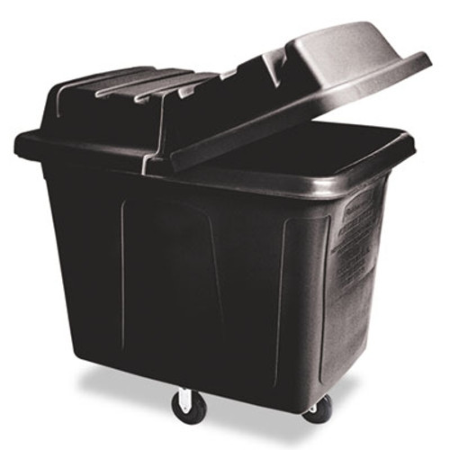 Rubbermaid Commercial Metal Frame Cube Truck, Rectangular, Polyethylene, 400lb Cap, Black