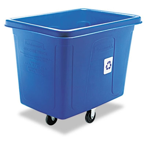 Rubbermaid Commercial Recycling Cube Truck, Rectangular, Polyethylene-lb cap, Blue