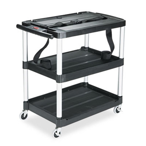 Rubbermaid Commercial Media Master AV Cart, 3-Shelf, 18-3/4w x 32-3/4d x 33h, Black