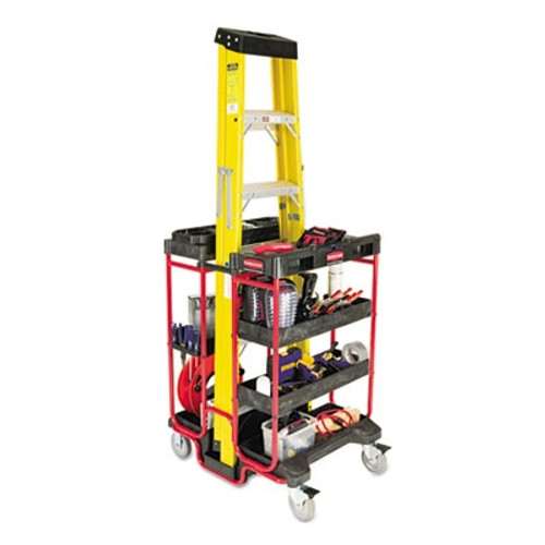 Rubbermaid Commercial Ladder Cart w/Open Ends, 7-Shelf, 27w x 31-1/2d x 42h, Black/Red