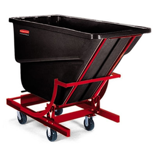 Rubbermaid Commercial Self-Dumping Hopper, 1000-lb Cap., Black, 1 Cu. Yd, 31-1/4/Wx71-1/2Dx52-1/2H