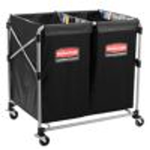 Rubbermaid Commercial Collapsible X-Cart, Black/Silver, Steel, 2-4 Bushel Cart