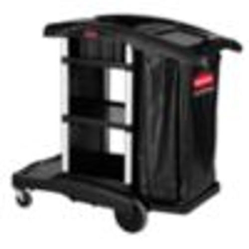 Rubbermaid 1861429 Executive High Security Janitorial Cleaning Cart, Black,