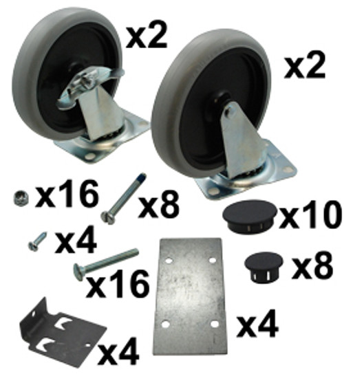 Max Rack Caster & Hardware Kit  ( 2 Rigid & Swivel )