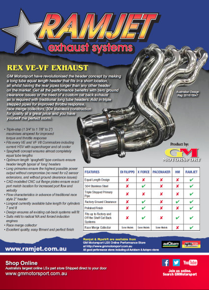 "REX VE - VF Triple Step 2"" Headers and Cats"