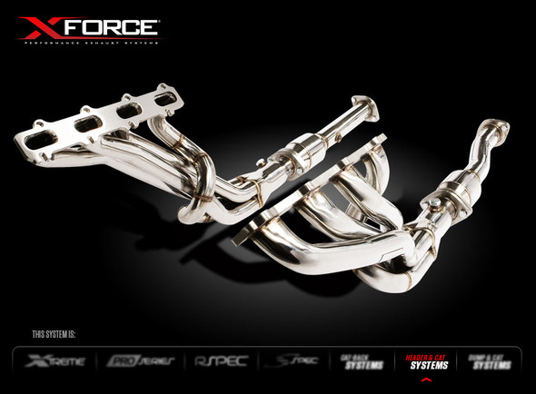 "X-FORCE 1-3/4"" HEADER MILD STEEL & TWIN 2-1/2"" CERAMIC CATS"