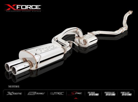 "X-FORCE 4"" DUMP/CAT SPLIT TO DUAL 2-1/2 "" VAREX CENTRE & DUAL 2-1/2"" REAR MUFFLERS STAINLESS STEEL"