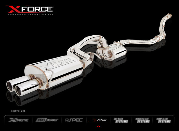 """X-FORCE 4"""" TURBO-BACK SYSTEM WITH TWIN TIP NON-POLISHED STAINLESS STEEL"""