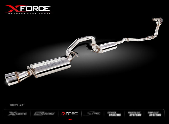 """X-FORCE HEADERS METALLIC CATS & 2.5"""" CAT-BACK SYSTEM( WITH DUAL TIP) MILD STEEL"""