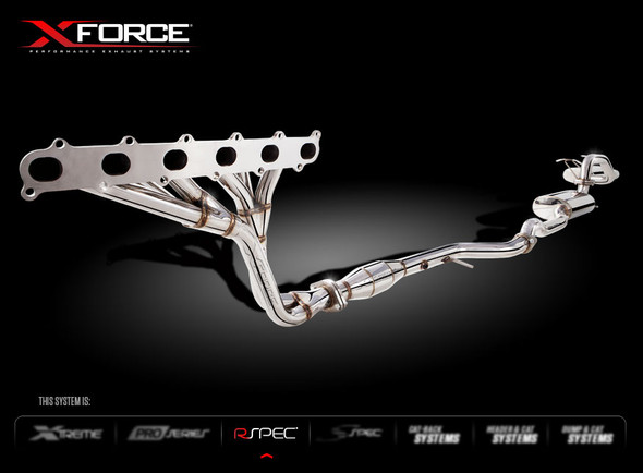 "X-FORCE HEADERS METALLIC CATS & 2.5"" CAT-BACK SYSTEM( WITH DUAL TIP) MILD STEEL"