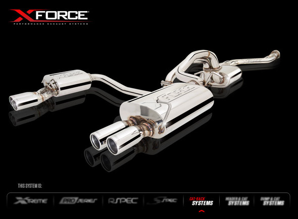 """X-FORCE MILD STEEL TURBO-BACK SYSTEM WITH TWIN 2.5"""" CAT-BACK AND QUAD TIPS WITH VAREX CENTRE MUFFLER"""